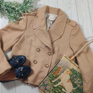 Ann Taylor LOFT cotton tan pea coat.